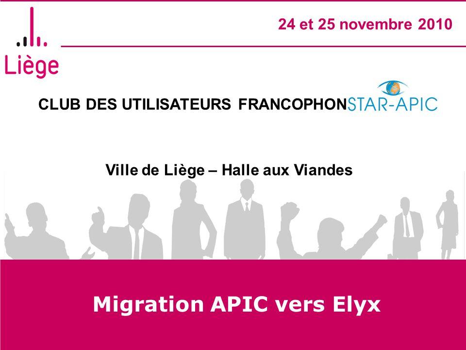 CLUB DES UTILISATEURS FRANCOPHONES STAR- APIC Ville de Liège – Halle aux Viandes 24 et 25 novembre 2010 Migration APIC vers Elyx
