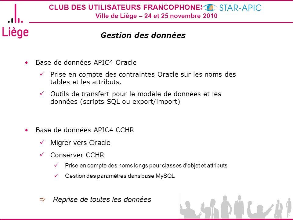 CLUB DES UTILISATEURS FRANCOPHONES STAR-APIC 2010 Ville de Liège – 24 et 25 novembre 2010 Gestion des données Base de données APIC4 Oracle Prise en compte des contraintes Oracle sur les noms des tables et les attributs.