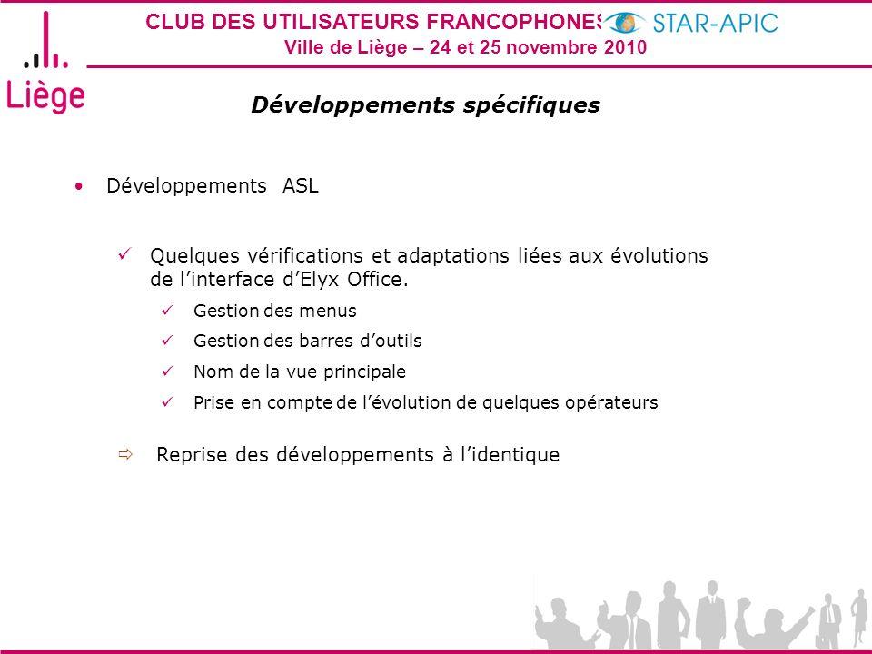 CLUB DES UTILISATEURS FRANCOPHONES STAR-APIC 2010 Ville de Liège – 24 et 25 novembre 2010 Développements spécifiques Développements ASL Quelques vérifications et adaptations liées aux évolutions de linterface dElyx Office.