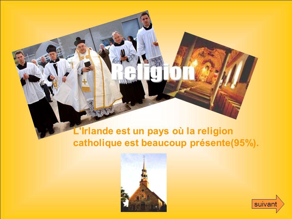 L'Irlande est un pays où la religion catholique est beaucoup présente(95%). suivant