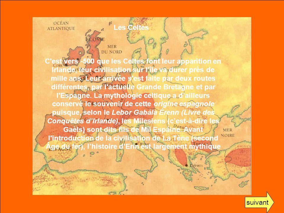 C'est vers -500 que les Celtes font leur apparition en Irlande, leur civilisation sur l'île va durer près de mille ans. Leur arrivée s'est faite par d