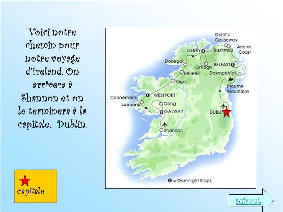 Voici notre chemin pour notre voyage dIreland. On arrivera à Shannon et on le terminera à la capitale, Dublin. capitale suivant