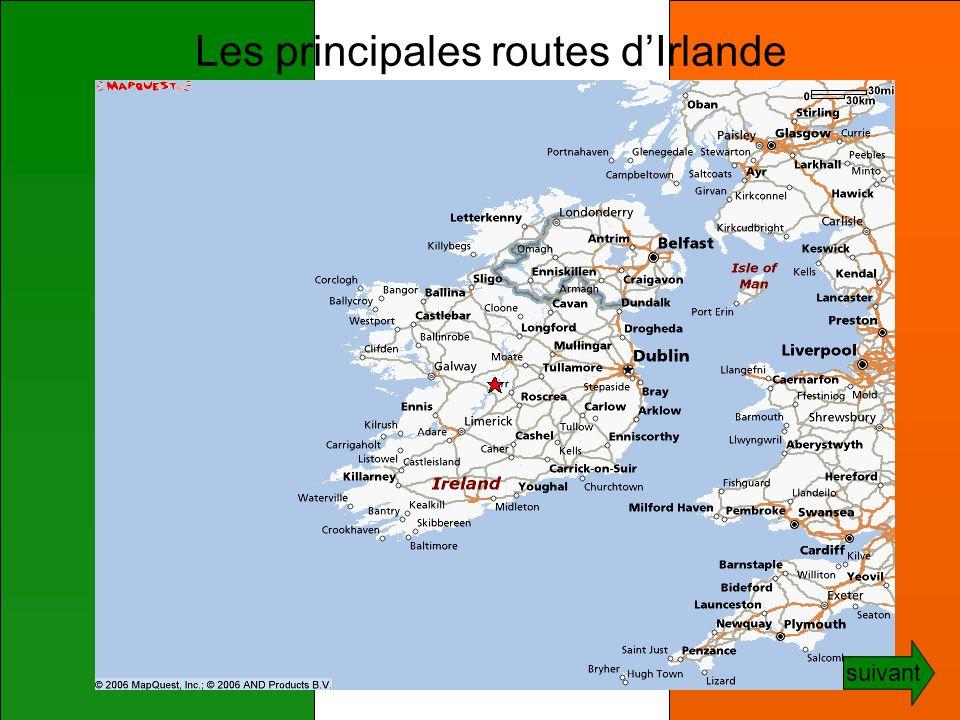 Les principales routes dIrlande suivant