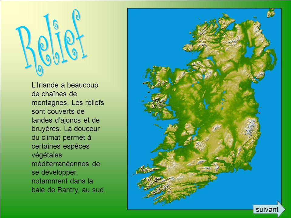 LIrlande a beaucoup de chaînes de montagnes. Les reliefs sont couverts de landes dajoncs et de bruyères. La douceur du climat permet à certaines espèc