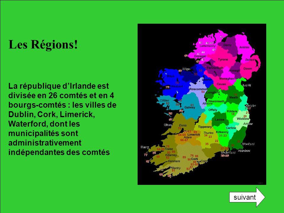 Les Régions! La république dIrlande est divisée en 26 comtés et en 4 bourgs-comtés : les villes de Dublin, Cork, Limerick, Waterford, dont les municip