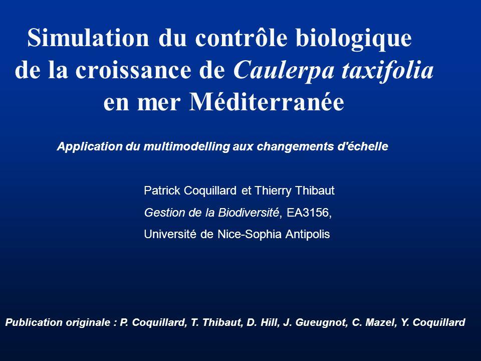 Simulation du contrôle biologique de la croissance de Caulerpa taxifolia en mer Méditerranée Application du multimodelling aux changements d'échelle P