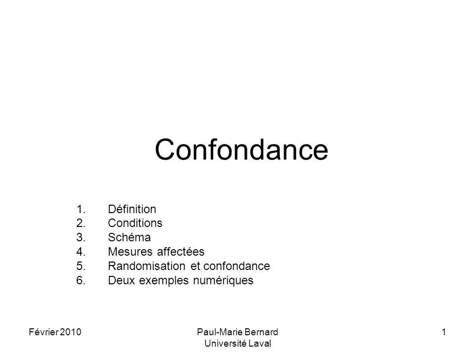 Février 2010Paul-Marie Bernard Université Laval 1 Confondance 1.Définition 2.Conditions 3.Schéma 4.Mesures affectées 5.Randomisation et confondance 6.