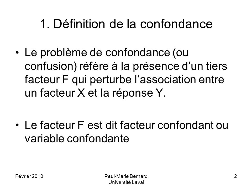 Février 2010Paul-Marie Bernard Université Laval 13 Exemple 2 Simulation numérique X=1X=0Total F=1 Y=1 4 8 12 12 DR=0,10RR=2RC=2,25 Y=016 72 72 88 88 Total20 80 80100 F=2 Y=132 6 38 38 DR=0,10RR=4/3RC=1,56 Y=048 14 14 62 62 Total80 20 20100 Total Y=1 36 14 50 DR=0,22 RR=2,57 RC=3,46 Y=0 64 86150 Total100 200