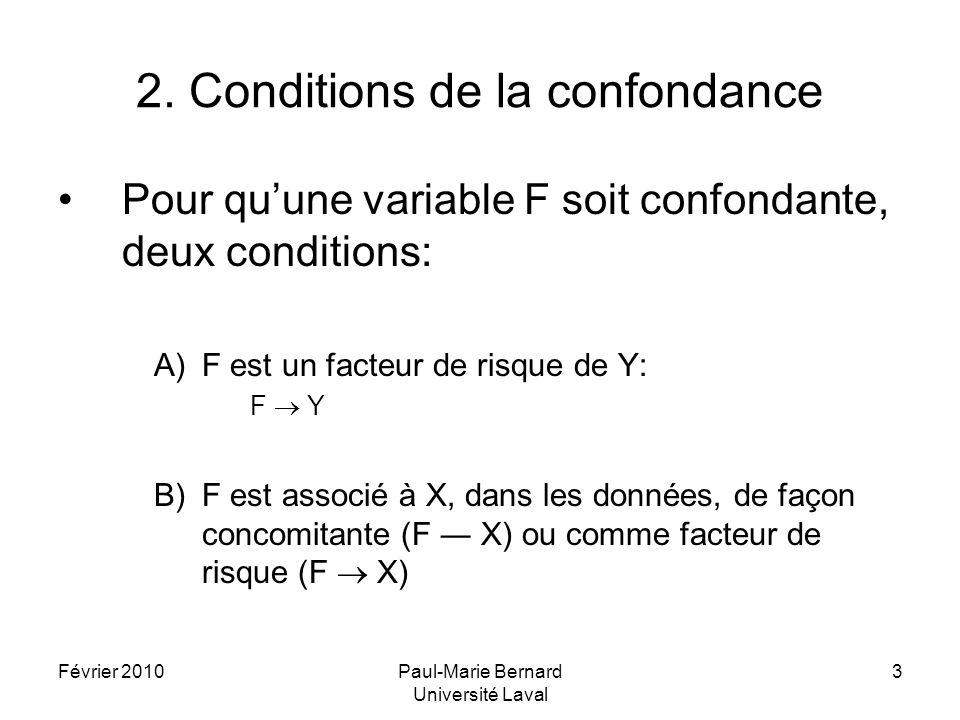 Février 2010Paul-Marie Bernard Université Laval 4 2.1 Biais de confondance Si les deux conditions décrites précédemment, A) et B), prévalent dans les données, alors leffet de F se confond avec celui de X, en laugmentant ou le diminuant.