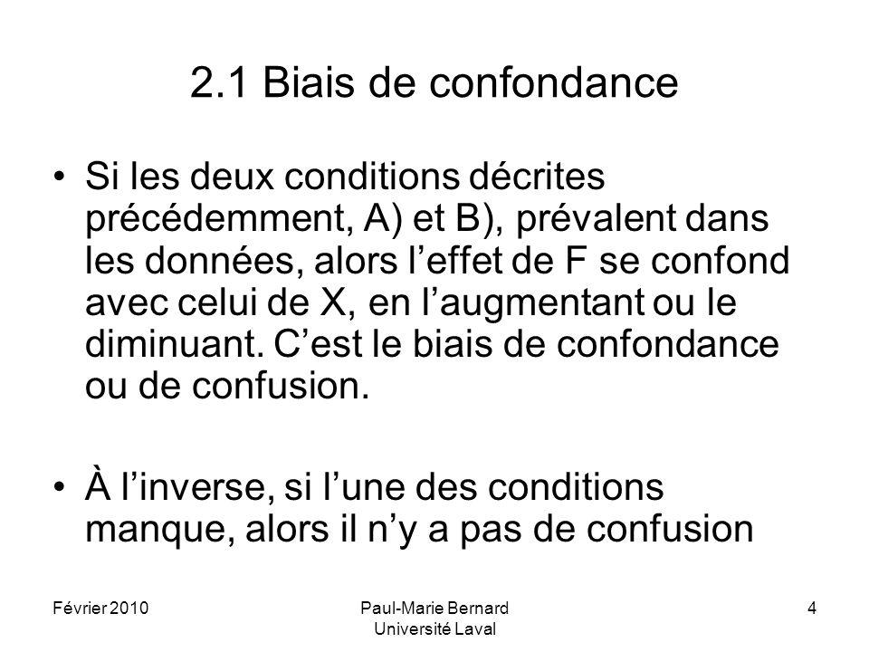 Février 2010Paul-Marie Bernard Université Laval 4 2.1 Biais de confondance Si les deux conditions décrites précédemment, A) et B), prévalent dans les