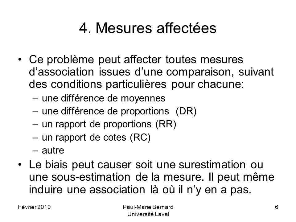 Février 2010Paul-Marie Bernard Université Laval 7 Exemple numérique 1 Dans une étude clinique (non randomisée), pour évaluer leffet dun traitement (T) sur la maladie M, on compare un groupe de patients traités par T à un groupe de patients traités par une approche standard (S).