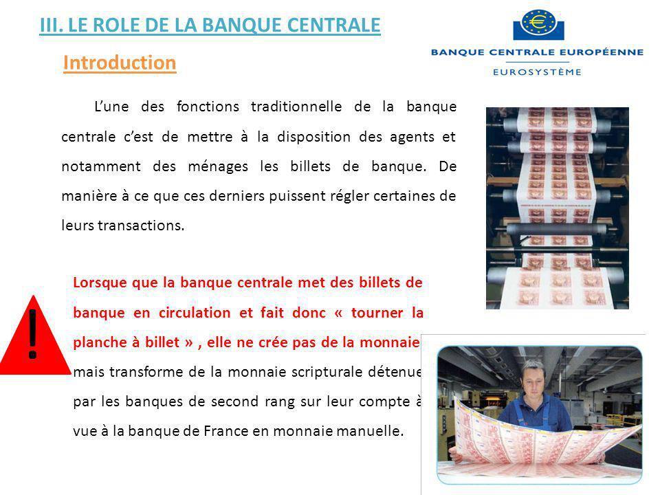 III. LE ROLE DE LA BANQUE CENTRALE Introduction Lorsque que la banque centrale met des billets de banque en circulation et fait donc « tourner la plan