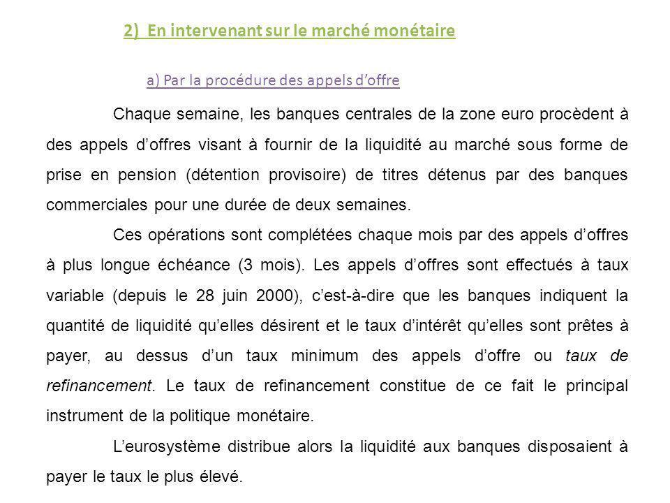 2) En intervenant sur le marché monétaire Chaque semaine, les banques centrales de la zone euro procèdent à des appels doffres visant à fournir de la