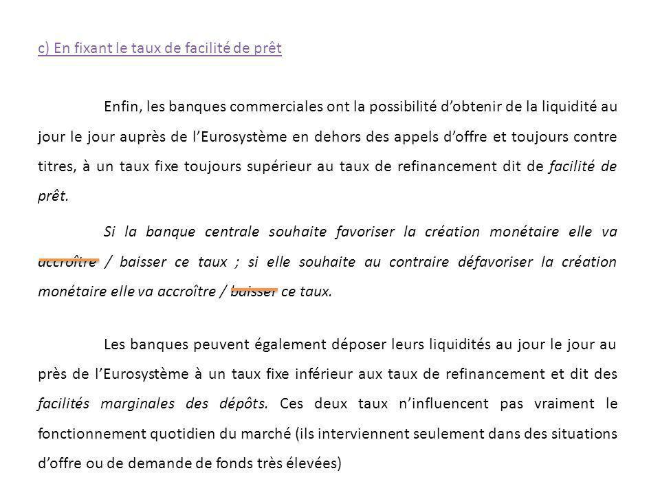 Enfin, les banques commerciales ont la possibilité dobtenir de la liquidité au jour le jour auprès de lEurosystème en dehors des appels doffre et touj