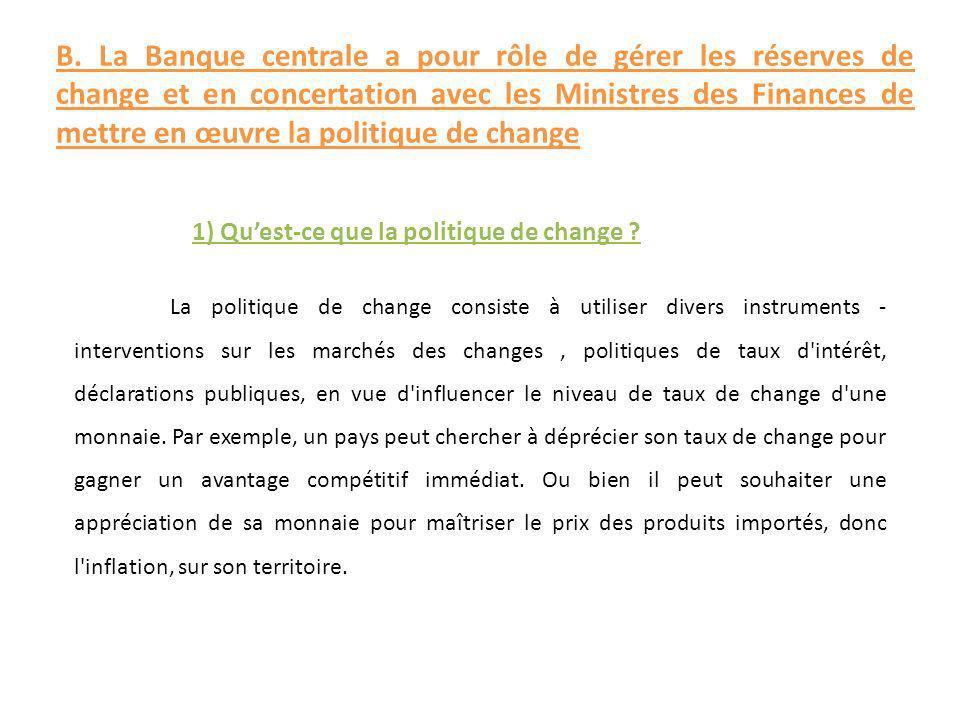 La politique de change consiste à utiliser divers instruments - interventions sur les marchés des changes, politiques de taux d'intérêt, déclarations