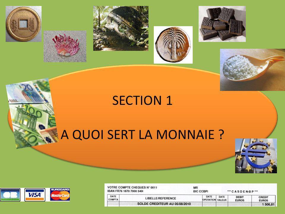 SECTION 1 A QUOI SERT LA MONNAIE ? SECTION 1 A QUOI SERT LA MONNAIE ?