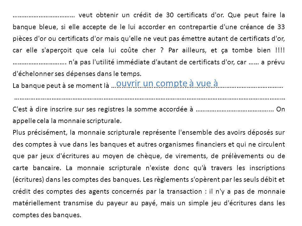 ……………………………… veut obtenir un crédit de 30 certificats d'or. Que peut faire la banque bleue, si elle accepte de le lui accorder en contrepartie d'une c