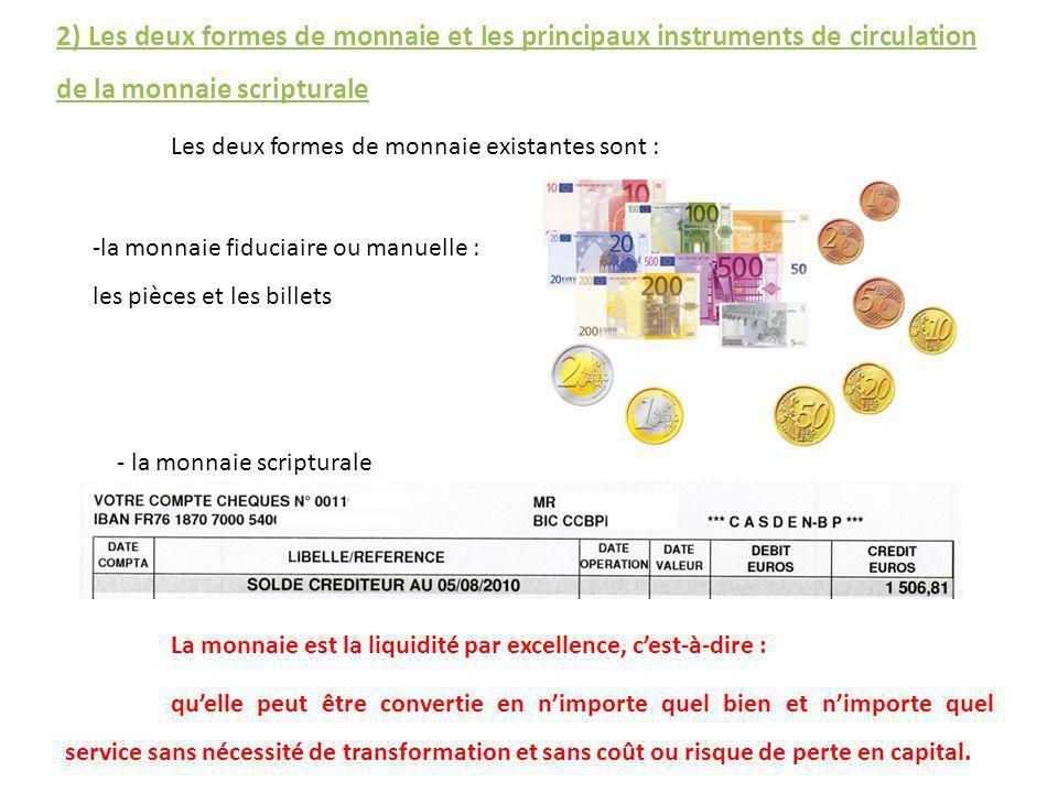 2) Les deux formes de monnaie et les principaux instruments de circulation de la monnaie scripturale Les deux formes de monnaie existantes sont : -la