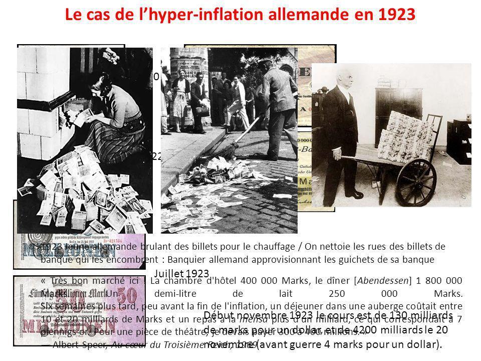 Le cas de lhyper-inflation allemande en 1923 1910 1922 Octobre 1923 Juillet 1923 Début novembre 1923 le cours est de 130 milliards de marks pour un do