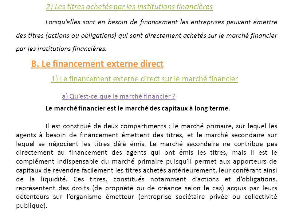 2) Les titres achetés par les institutions financières Lorsquelles sont en besoin de financement les entreprises peuvent émettre des titres (actions o