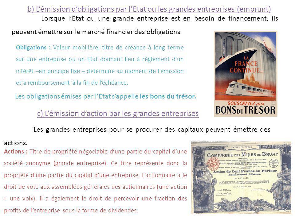 b) Lémission dobligations par lEtat ou les grandes entreprises (emprunt) Lorsque lEtat ou une grande entreprise est en besoin de financement, ils peuv