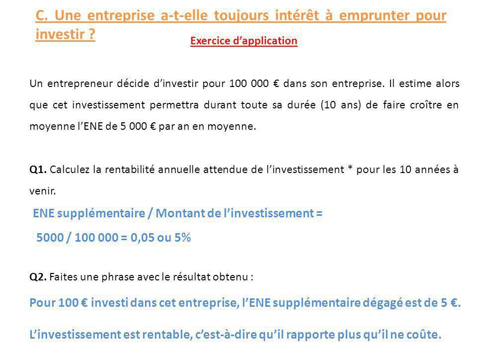 Exercice dapplication Un entrepreneur décide dinvestir pour 100 000 dans son entreprise. Il estime alors que cet investissement permettra durant toute
