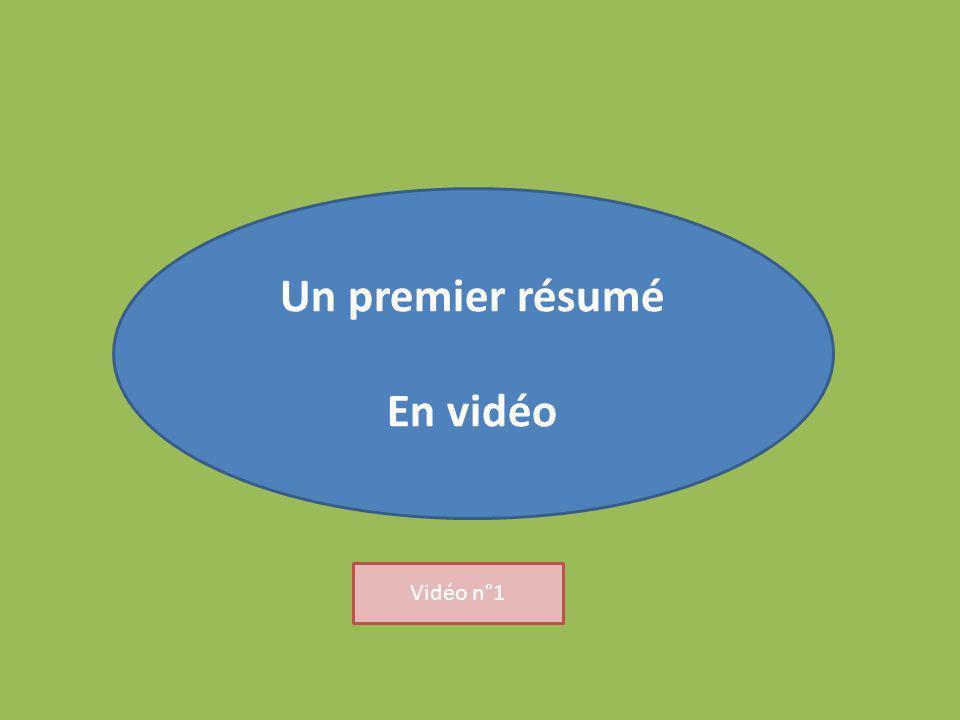 Un premier résumé En vidéo Vidéo n°1