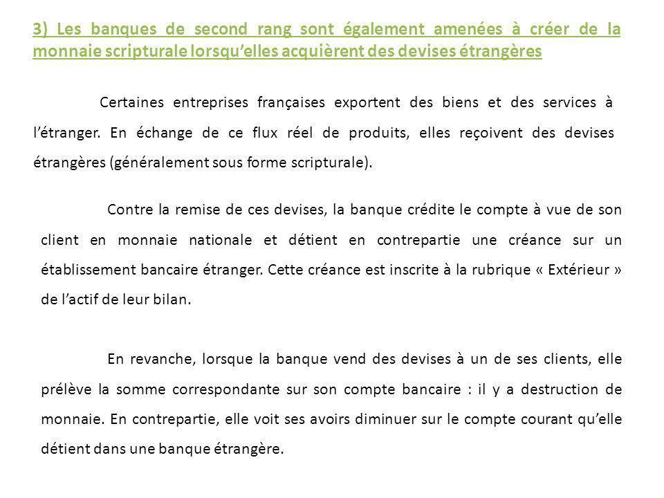 3) Les banques de second rang sont également amenées à créer de la monnaie scripturale lorsquelles acquièrent des devises étrangères Certaines entrepr