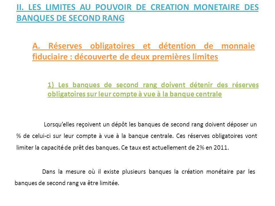 Dans la mesure où il existe plusieurs banques la création monétaire par les banques de second rang va être limitée. II. LES LIMITES AU POUVOIR DE CREA