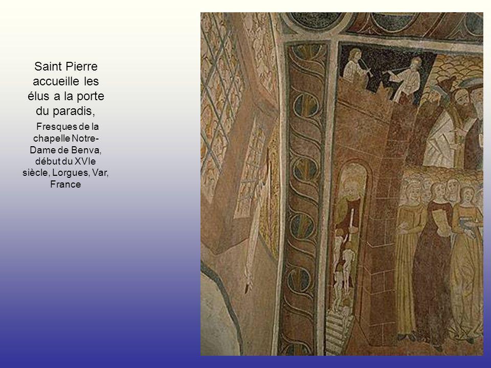 Saint Pierre accueille les élus a la porte du paradis, Fresques de la chapelle Notre- Dame de Benva, début du XVIe siècle, Lorgues, Var, France
