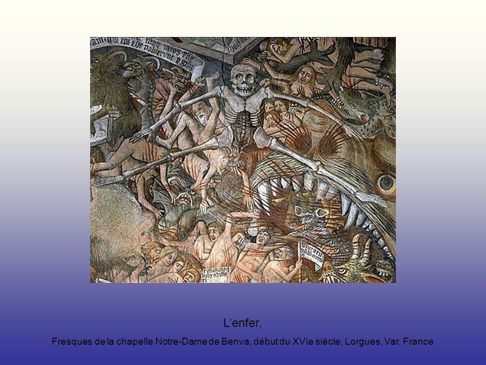 Lenfer, Fresques de la chapelle Notre-Dame de Benva, début du XVIe siècle, Lorgues, Var, France