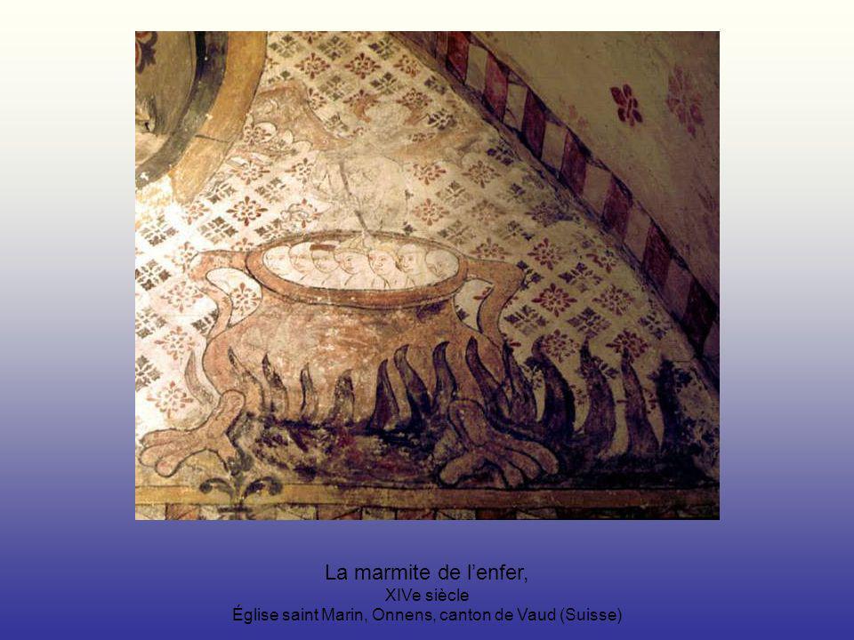 La marmite de lenfer, XIVe siècle Église saint Marin, Onnens, canton de Vaud (Suisse)