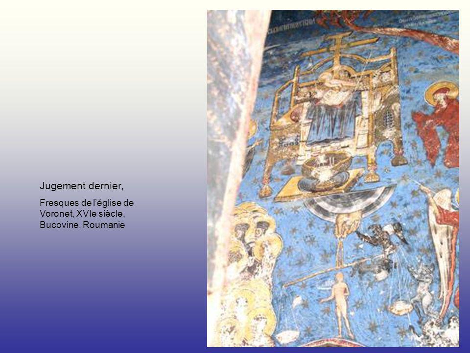 Jugement dernier, Fresques de léglise de Voronet, XVIe siècle, Bucovine, Roumanie