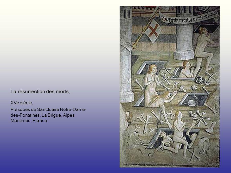 La résurrection des morts, XVe siècle, Fresques du Sanctuaire Notre-Dame- des-Fontaines, La Brigue, Alpes Maritimes, France