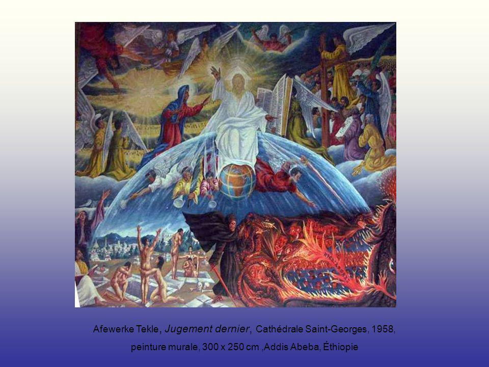 Afewerke Tekle, Jugement dernier, Cathédrale Saint-Georges, 1958, peinture murale, 300 x 250 cm,Addis Abeba, Éthiopie