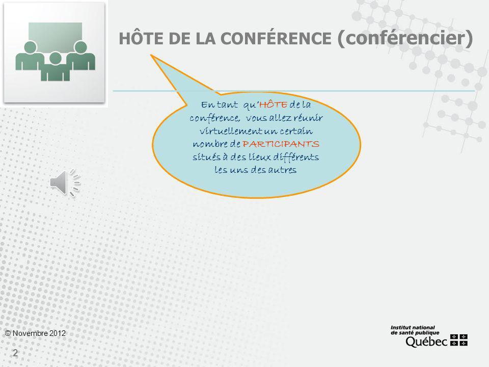 1 ADOBE CONNECT POUR VOS CONFÉRENCES EN LIGNE Guide de démarrage du conférencier © Novembre 2012 Vous avez lintention danimer une conférence en ligne