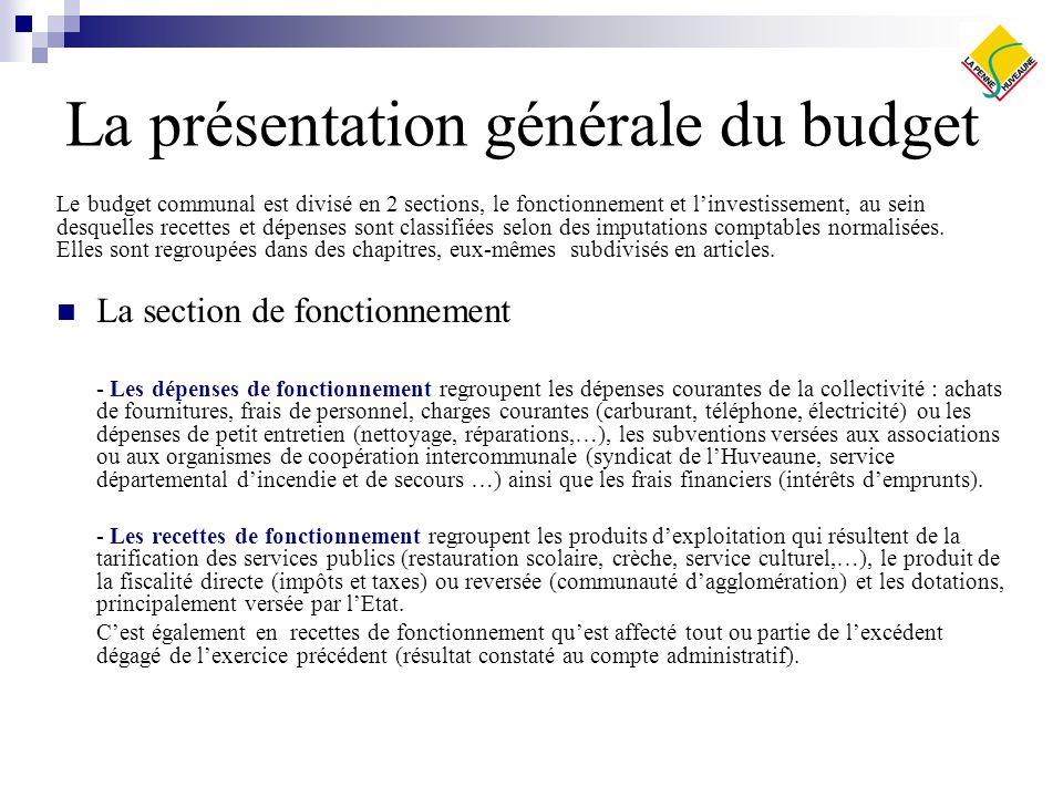 La présentation générale du budget Le budget communal est divisé en 2 sections, le fonctionnement et linvestissement, au sein desquelles recettes et dépenses sont classifiées selon des imputations comptables normalisées.