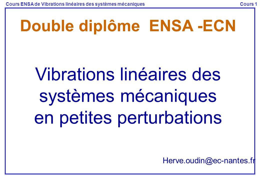 Cours ENSA de Vibrations linéaires des systèmes mécaniquesCours 1 Objectifs du cours Résolution des équations du mouvement dans le cas des petites oscillations autour d une position d équilibre Plan II - Mise en équations Milieux discrets PFD – PTV (C1) Milieux continus MMC - modèles de lingénieur (C2) III- Oscillateurs à un degré de liberté (C3) IV- Oscillateurs à plusieurs degrés de liberté (C4) V - Vibrations des milieux continus (C5) Méthodes dapproximation Supports du cours Polycopié Site web : https://pedagogie.ec-nantes.fr/meefi/Vibra/vibra.htm
