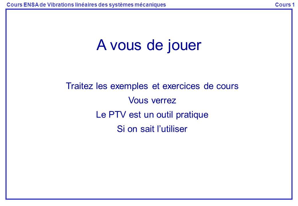 Cours ENSA de Vibrations linéaires des systèmes mécaniquesCours 1 A vous de jouer Traitez les exemples et exercices de cours Vous verrez Le PTV est un