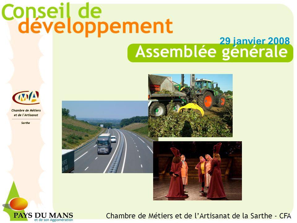 Assemblée générale 29 janvier 2008 Chambre de Métiers et de lArtisanat de la Sarthe - CFA