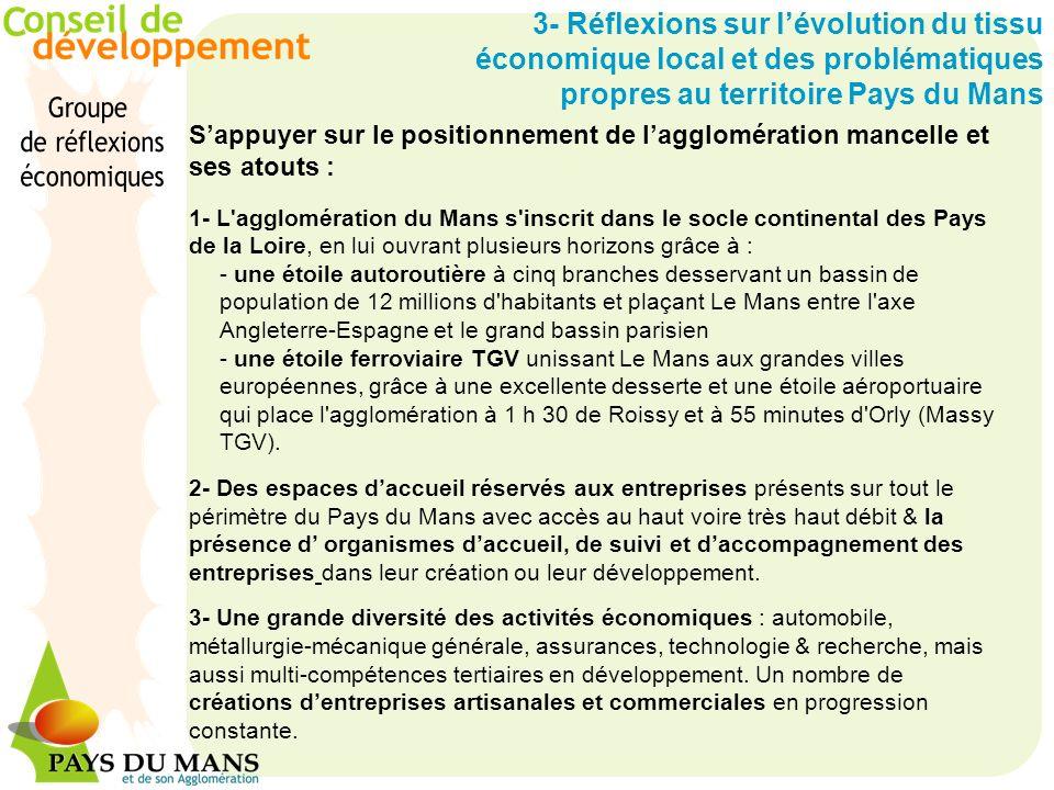 3- Réflexions sur lévolution du tissu économique local et des problématiques propres au territoire Pays du Mans Sappuyer sur le positionnement de lagg