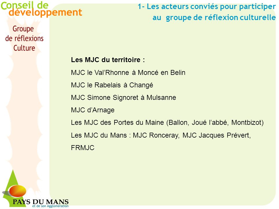 1- Les acteurs conviés pour participer au groupe de réflexion culturelle Les MJC du territoire : MJC le ValRhonne à Moncé en Belin MJC le Rabelais à C