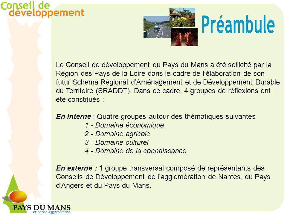 Le Conseil de développement du Pays du Mans a été sollicité par la Région des Pays de la Loire dans le cadre de lélaboration de son futur Schéma Régional dAménagement et de Développement Durable du Territoire (SRADDT).