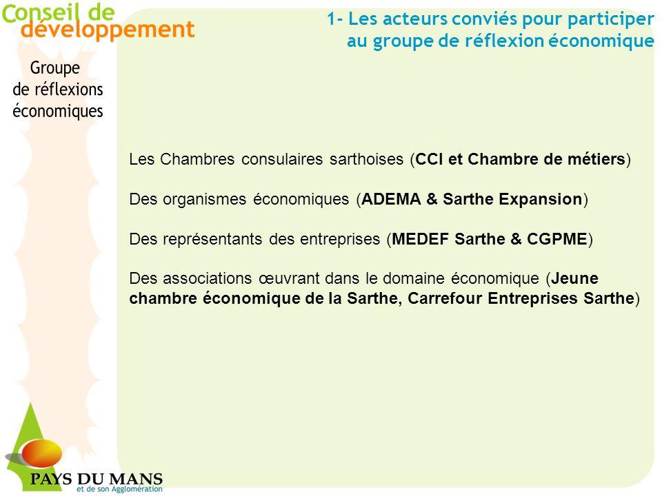 Les Chambres consulaires sarthoises (CCI et Chambre de métiers) Des organismes économiques (ADEMA & Sarthe Expansion) Des représentants des entreprise