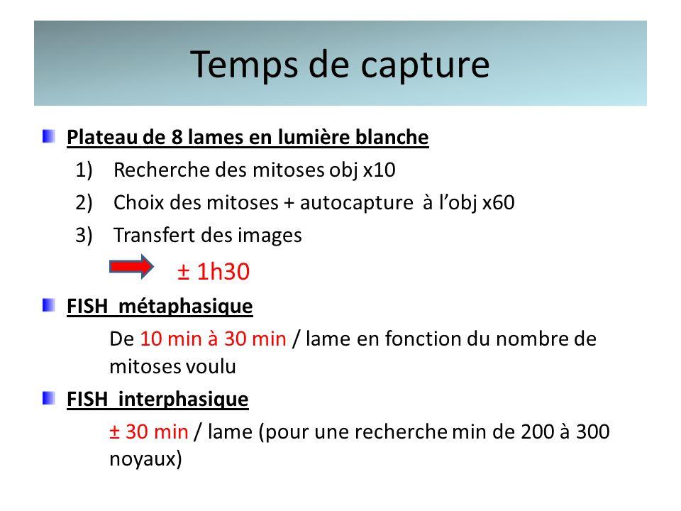 Temps de capture Plateau de 8 lames en lumière blanche 1)Recherche des mitoses obj x10 2)Choix des mitoses + autocapture à lobj x60 3)Transfert des im