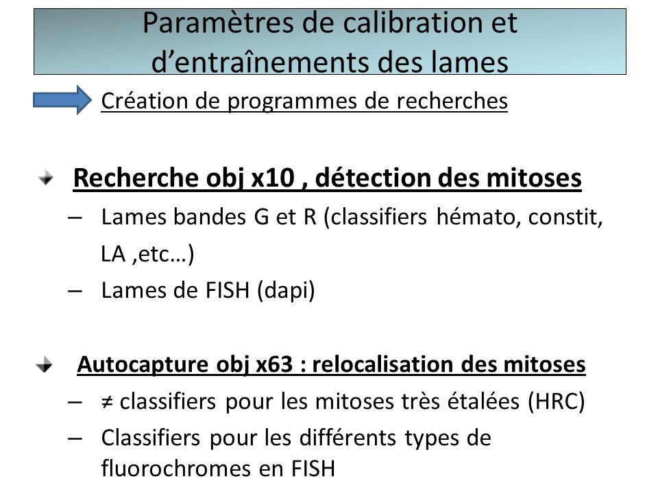 Paramètres de calibration et dentraînements des lames Création de programmes de recherches Recherche obj x10, détection des mitoses – Lames bandes G e
