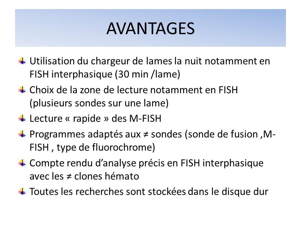 AVANTAGES Utilisation du chargeur de lames la nuit notamment en FISH interphasique (30 min /lame) Choix de la zone de lecture notamment en FISH (plusi