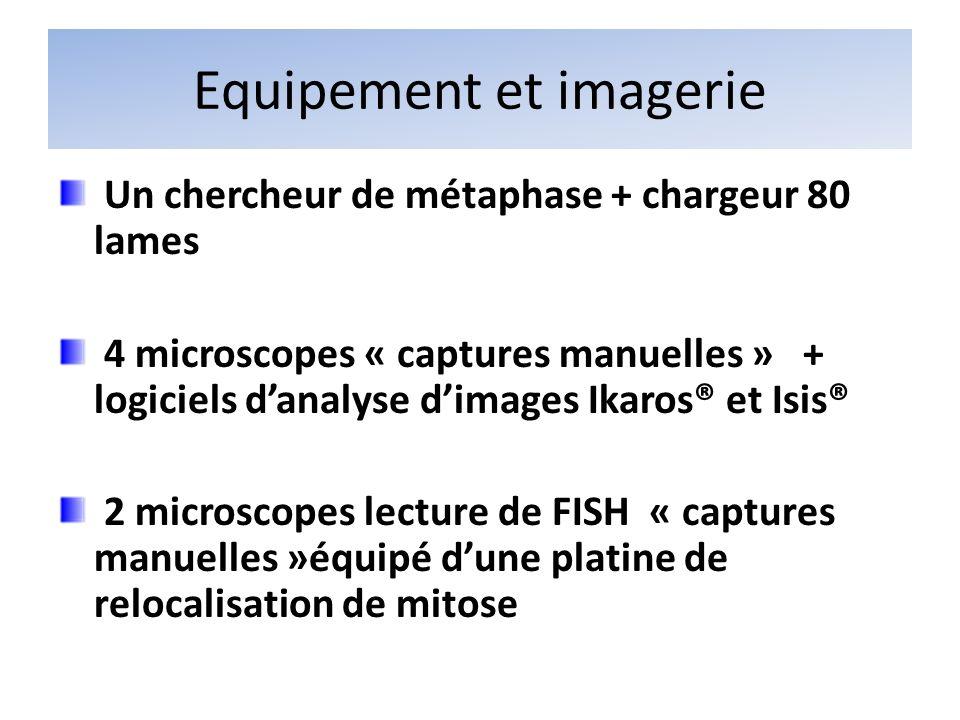 Equipement et imagerie Un chercheur de métaphase + chargeur 80 lames 4 microscopes « captures manuelles » + logiciels danalyse dimages Ikaros® et Isis