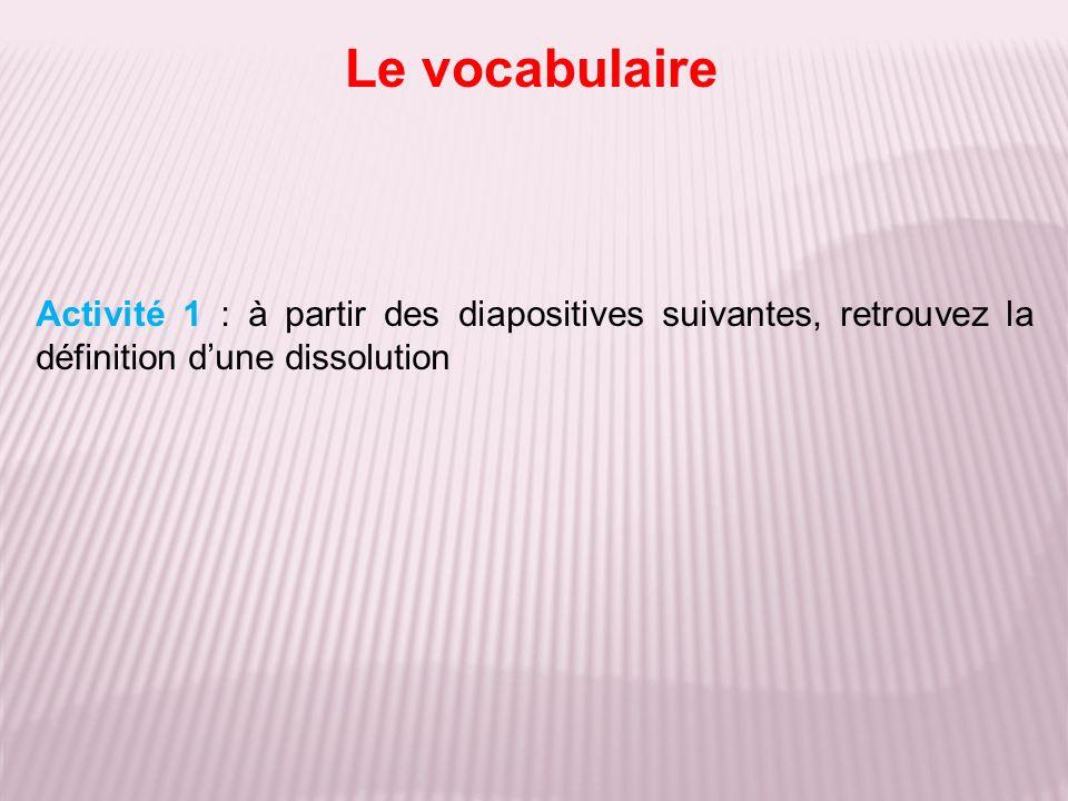 Le vocabulaire Activité 1 : à partir des diapositives suivantes, retrouvez la définition dune dissolution