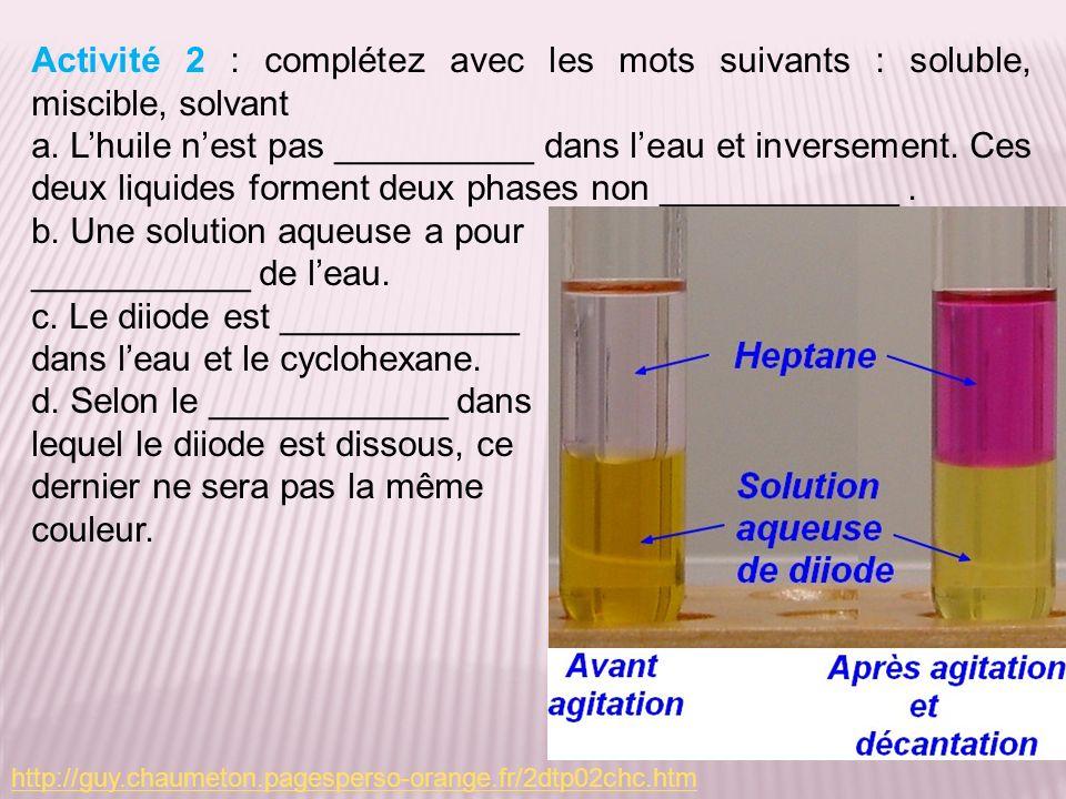 http://guy.chaumeton.pagesperso-orange.fr/2dtp02chc.htm Activité 2 : complétez avec les mots suivants : soluble, miscible, solvant a.